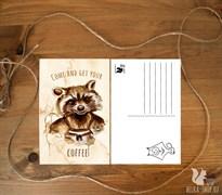 Кофейный Енот | Открытка для посткроссинга
